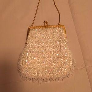 Handbags - Vintage 1960s  ivory satin beaded evening bag.